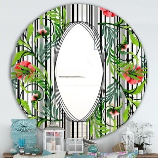 Designart 'Elementary Botanicals 4' Traditional Mirror - Oval and Circle Wall Mirror - Green