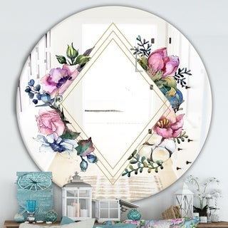 Designart 'Winter Floral Colors' Cabin and Lodge Mirror - Oval or Round Wall Mirror - Pink