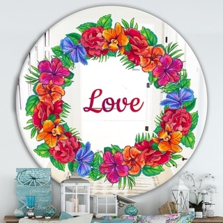 Designart 'Love and Flowers' Cabin and Lodge Mirror - Oval and Circle Wall Mirror - Red