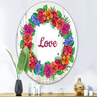 Designart Love and Flowers Red Cabin and Lodge Mirror (Oval - 23.7 in. wide x 31.5 in. high)