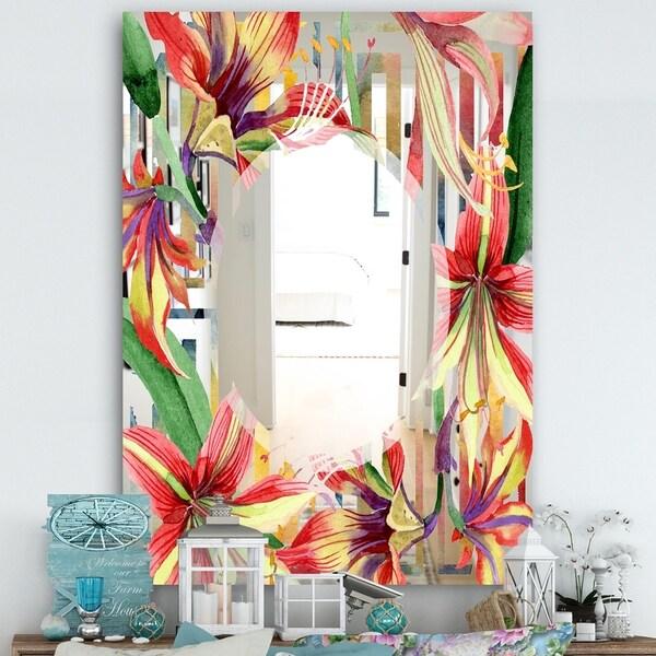Designart 'Elementary Botanicals 3' Farmhouse Mirror - Large Wall Mirror - Multi