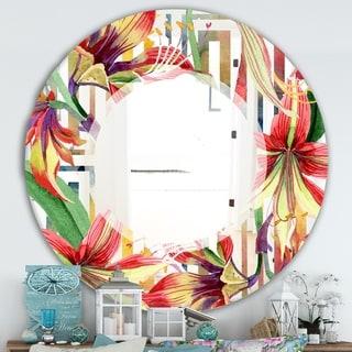 Designart 'Elementary Botanicals 3' Farmhouse Mirror - Oval or Round Vanity Mirror - Multi