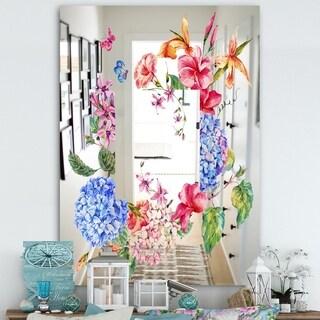 Designart 'Garland Sweet 5' Cabin and Lodge Mirror - Wall Mirror - Blue