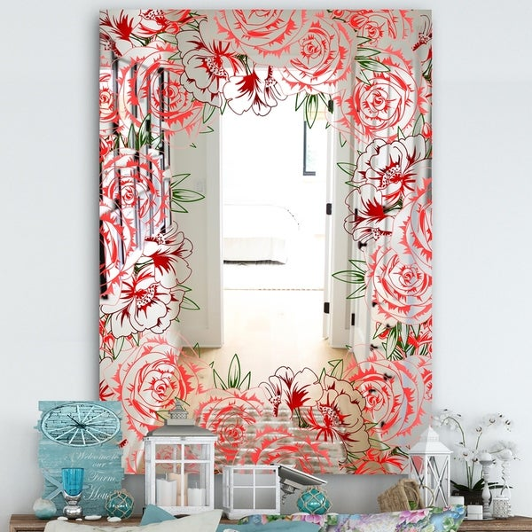 Designart 'Garland Vivid 2' Farmhouse Mirror - Large Wall Mirror - Red