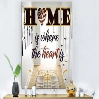 Designart Home Is Where The Heart Is America Blue Modern Contemporary Large Wall Mirror (27.5 in. wide x 47.4 in. high)