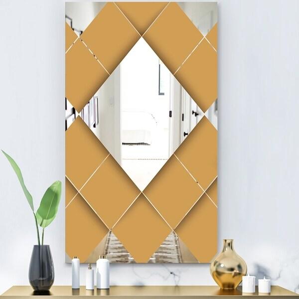 Designart 'Flipped Squares' Modern Mirror - Wall Mirror - Gold