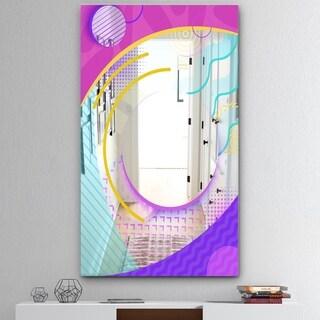 Designart 'Spacy Dimensions 8' Mid-Century Mirror - Large Wall Mirror - Pink