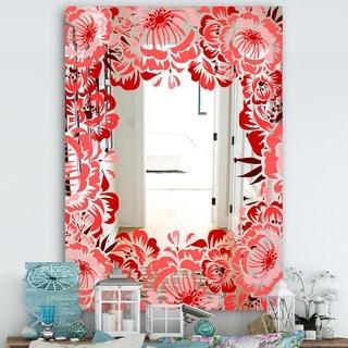 Designart 'Garland Vivid 5' Farmhouse Mirror - Vanity Mirror - Red