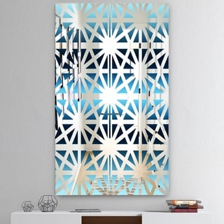 Designart 'Geometry Sky' Mid-Century Mirror - Large Wall Mirror - Blue