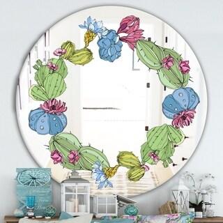 Designart 'Cactus 1' Farmhouse Mirror - Oval or Round Wall Mirror - Green