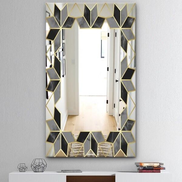 Designart 'Capital Gold Sleek 19' Mid-Century Mirror - Wall Mirror - Black