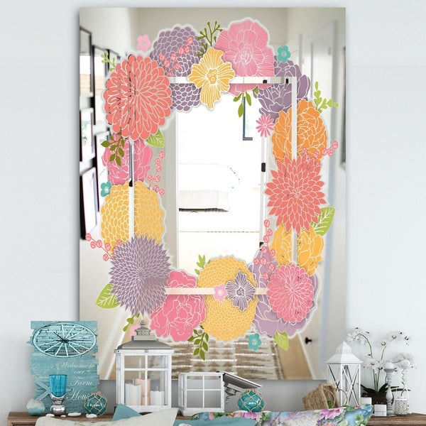 Designart 'Garland Sweet 10' Farmhouse Mirror - Large Mirror - Pink