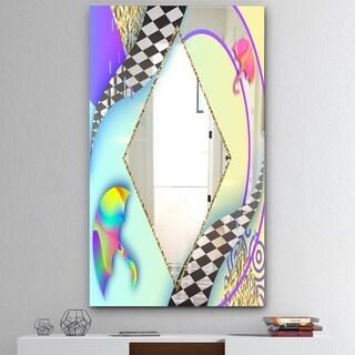Designart 'Spacy Dimensions 5' Mid-Century Mirror - Large Wall Mirror - Blue