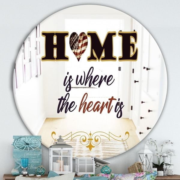 Designart 'Home Is Where The Heart Is' Cabin and Lodge Mirror - Round Wall Mirror - Multi