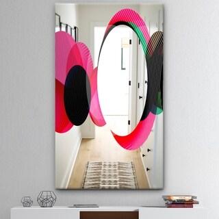 Designart 'Circular Lacuna 14' Mid-Century Mirror - Modern Print on Mirror - Pink