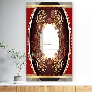 Designart Vintage Floral Red Bohemian and Eclectic Decorative Mirror (27.5 in. wide x 47.4 in. high)