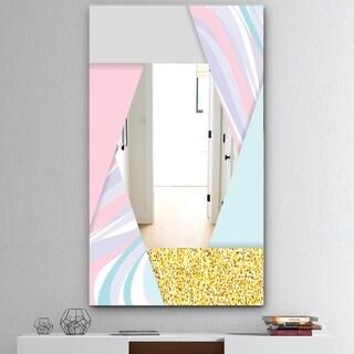 Designart 'Marbled Pink Marble 2' Mid-Century Mirror - Wall Mirror - Multi
