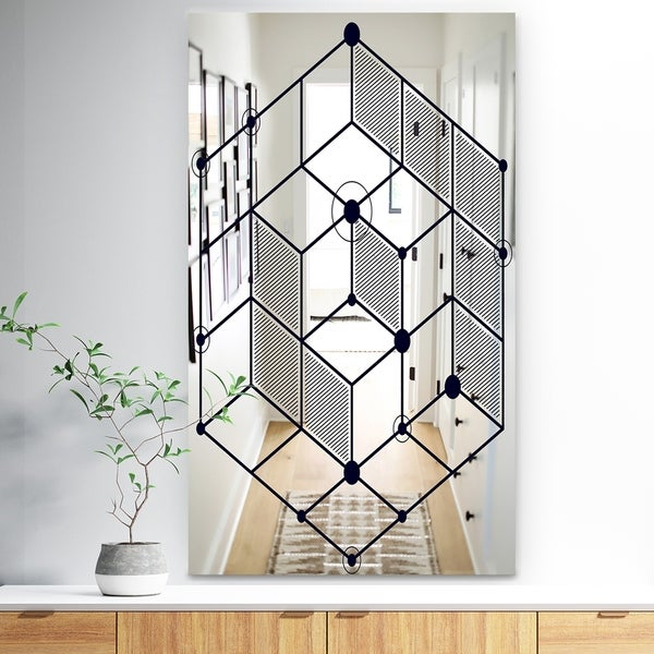 Designart 'Dimentional Navy Blue Cube' Industrial Mirror - Large Wall Mirror - Black