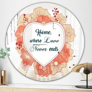 Designart Home Where Love Never Ends. Flower Heart multi Round Cabin and Lodge Mirror (Round - 31.5 in. wide x 31.5 in. high)