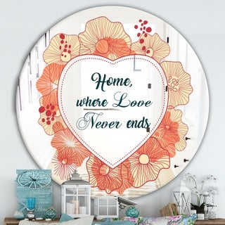 Designart 'Home Where Love Never Ends. Flower Heart' Cabin and Lodge Mirror - Round Wall Mirror - Multi