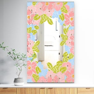 Designart 'Garland Vivid 8' Traditional Mirror - Wall Mirror - Pink