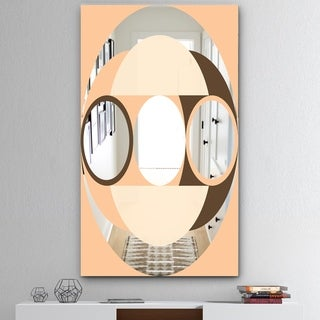 Designart 'Spacy Dimensions 14' Mid-Century Mirror - Wall Mirror - Pink