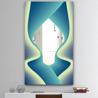 Designart 'Nebulous Waves 7' Mid-Century Mirror - Large Wall Mirror - Blue