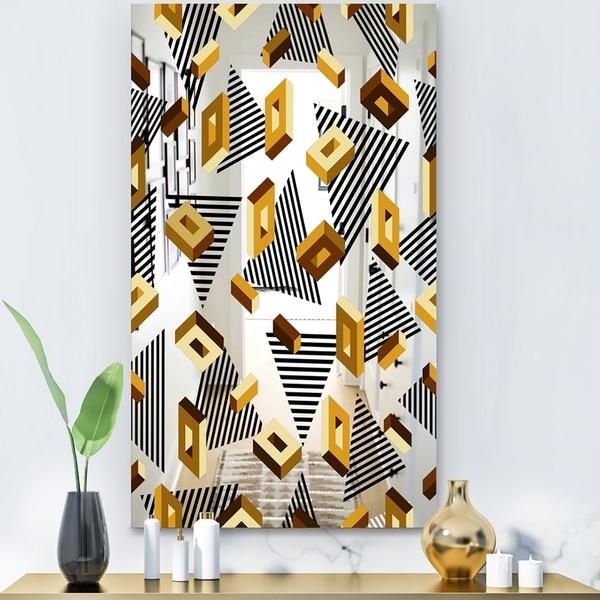 Designart 'Capital Gold Lively 4' Glam Mirror - Modern Accent Mirror - Black