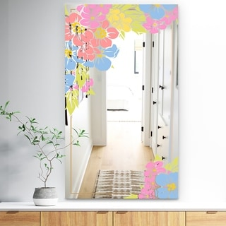 Designart 'Garland Sweet 18' Traditional Mirror - Large Mirror - Pink