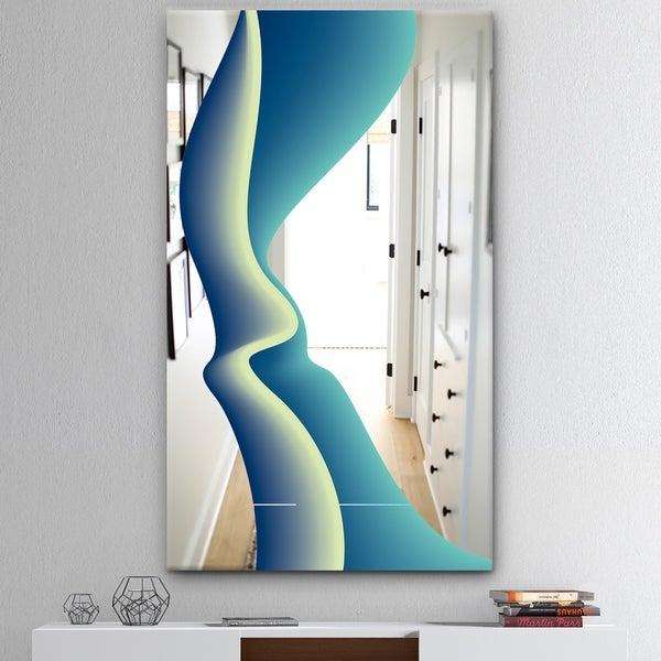 Designart 'Nebulous Waves 9' Mid-Century Mirror - Wall Mirror - Blue