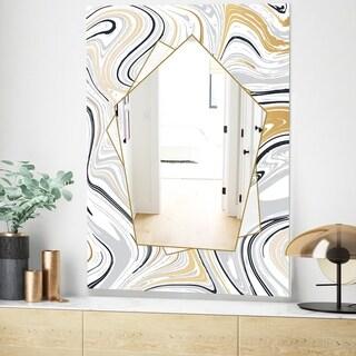 Designart Marbled Diamond 13 Glam Mirror - Wall Mirror - White (23.6 in. wide x 35.4 in. high)