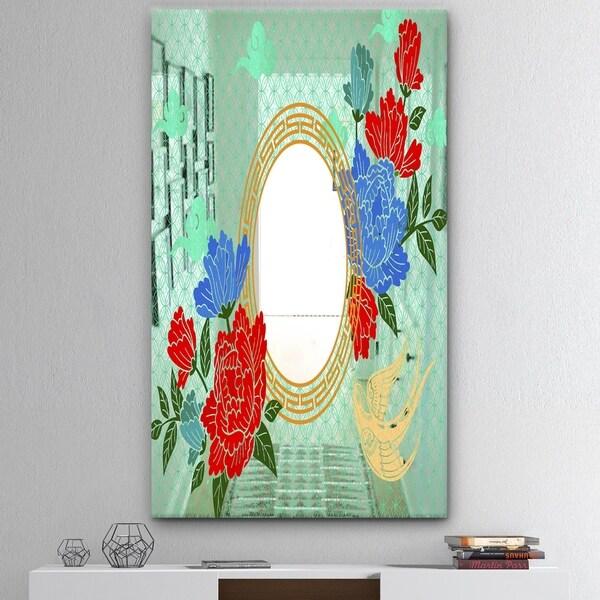 Designart 'Chinese Style With Peony' Mid-Century Mirror - Decorative Mirror - Red