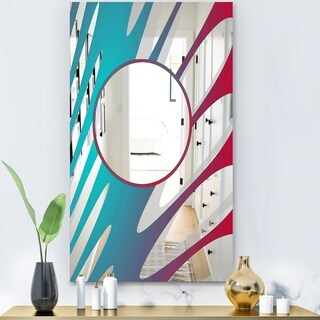 Designart 'Blue Pink and Red Swirls' Modern Mirror - Contemporary Large Wall Mirror