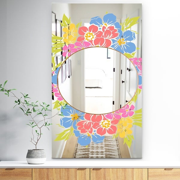 Designart 'Garland Sweet 19' Traditional Mirror - Large Mirror - Pink