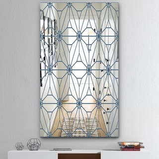 Designart 'Blue Illusion' Mid-Century Mirror - Wall Mirror - Blue