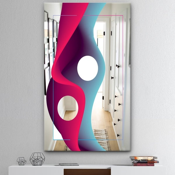 Designart 'Nebulous Waves 10' Mid-Century Mirror - Large Wall Mirror - Red