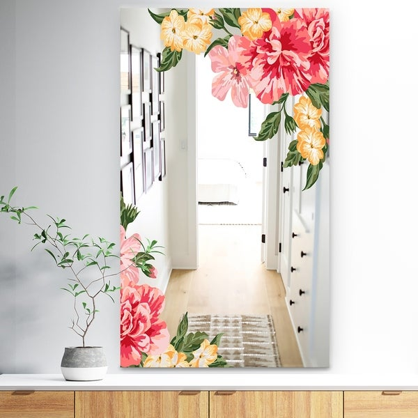 Designart 'Garland Vivid 15' Traditional Mirror - Vanity Mirror - Pink