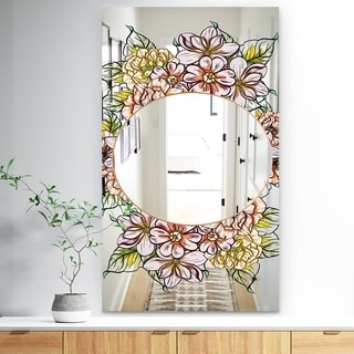 Designart 'Garland Sweet 29' Traditional Mirror - Large Mirror - Multi