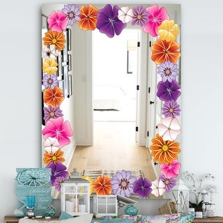 Designart 'Garland Vivid 9' Farmhouse Mirror - Vanity Mirror - Pink