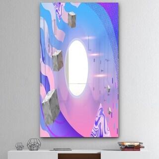Designart 'Spacy Dimensions 2' Mid-Century Mirror - Print on Mirror - Pink