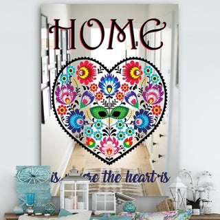 Designart 'Home Where Love Never Ends. Flower Heart II' Cabin and Lodge Mirror - Large Wall Mirror - Multi