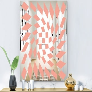 Designart 'Triangular Diamond Whirl 2' Modern Mirror - Contemporary Large Wall Mirror - Pink