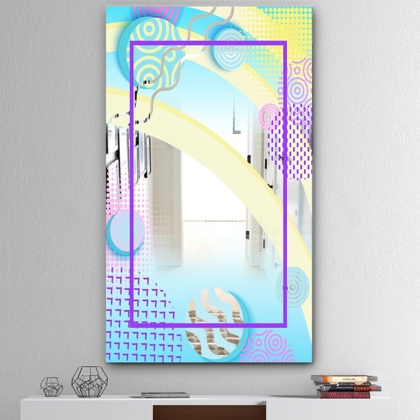 Designart 'Spacy Dimensions 7' Mid-Century Mirror - Large Wall Mirror - Blue