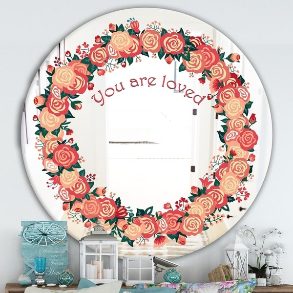 Designart 'You Are Loved. Pink Flower Heart' Cabin and Lodge Mirror - Round Wall Mirror - Multi