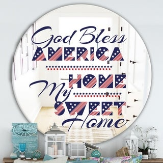 Designart 'God Bless America' Cabin and Lodge Mirror - Round Wall Mirror - Multi