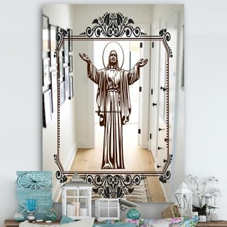 Designart 'Jesus Loves You' Cabin and Lodge Mirror - Large Wall Mirror - Multi