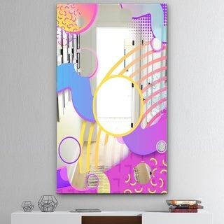 Designart 'Spacy Dimensions 9' Mid-Century Mirror - Wall Mirror - Pink