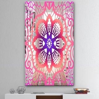 Designart 'Lace Pattern' Mid-Century Mirror - Large Wall Mirror - Pink