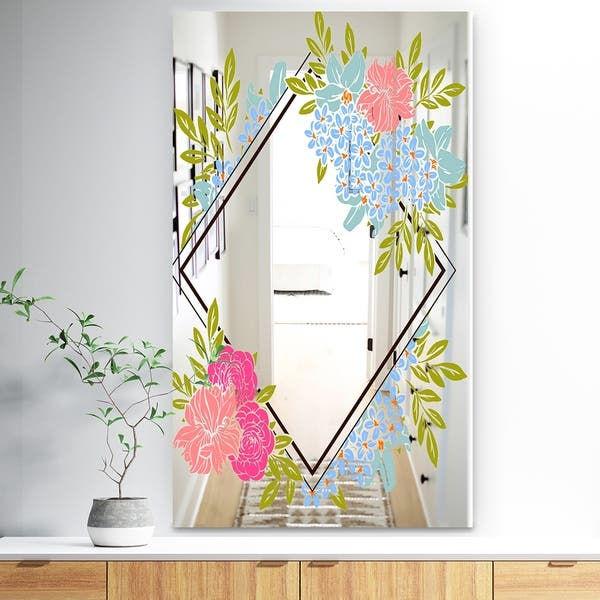 Shop Designart Garland Sweet 31 Traditional Mirror Wall Mirror Green On Sale Free Shipping Today Overstock 28022345