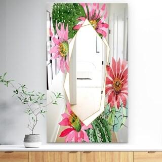 Designart 'Garland Sweet 17' Traditional Mirror - Wall Mirror - Red